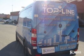Vehicle Wrap Installed for Top-Line - Roofing & Sheet Metal Company