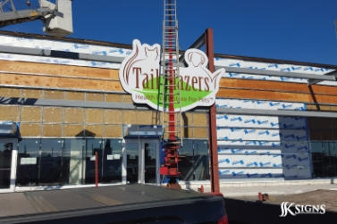 Exterior Building Sign being Installed in Etobicoke