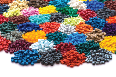 Various coloured plastic granules