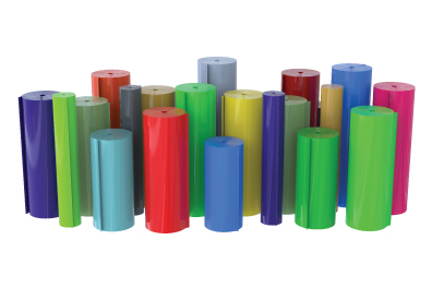 Various coloured rolls of vinyl for sign making