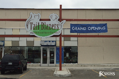 Outdoor building sign for Tail Blazers in Etobicoke