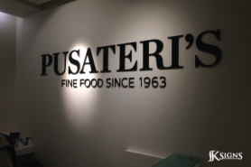 Lobby Sign Made with 3D Dimensional Letters for Pusateri's in Toronto