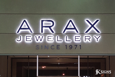 Halo lit channel letters installed in Toronto