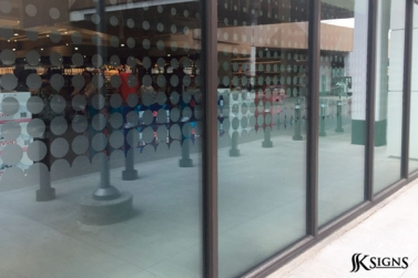 Custom Cut Frosted Window Graphics in Toronto