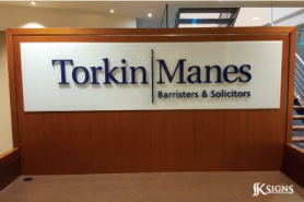 Lobby Sign for Torkin Manes Lobby Sign in 3D Letters