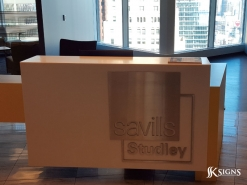 Stainless Steel Office & Lobby Sign Stud Mounted in Toronto