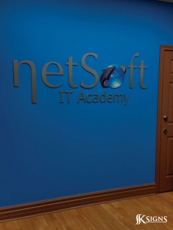 Lobby Sign - Metal Dimensional Letters for Net Soft IT Academy