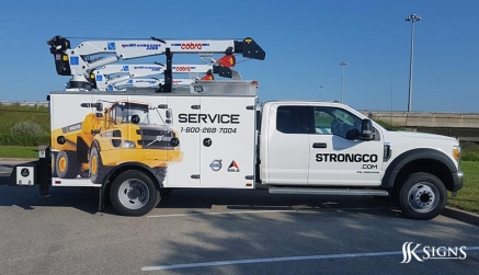 Fleet Graphics for Strongco with Volvo Hauler in Mississauga