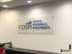 3D dimensional letter on acrylic backer installed at lobby at CDSPI Toronto