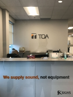 Lobby Sign for TOA in Mississauga