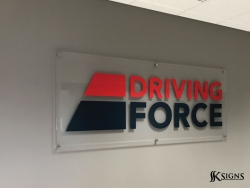 Lobby sign installed for Driving Force in Mississauga