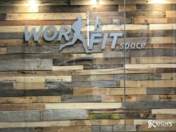 Brushed Aluminum Lobby Sign Installed For Workfit
