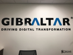 Lobby Sign Installed For Gibraltar Solutions In Mississauga