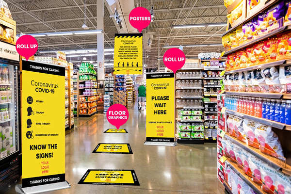 Custom banners, floor signs and decals, & safety signs for Groceries Store